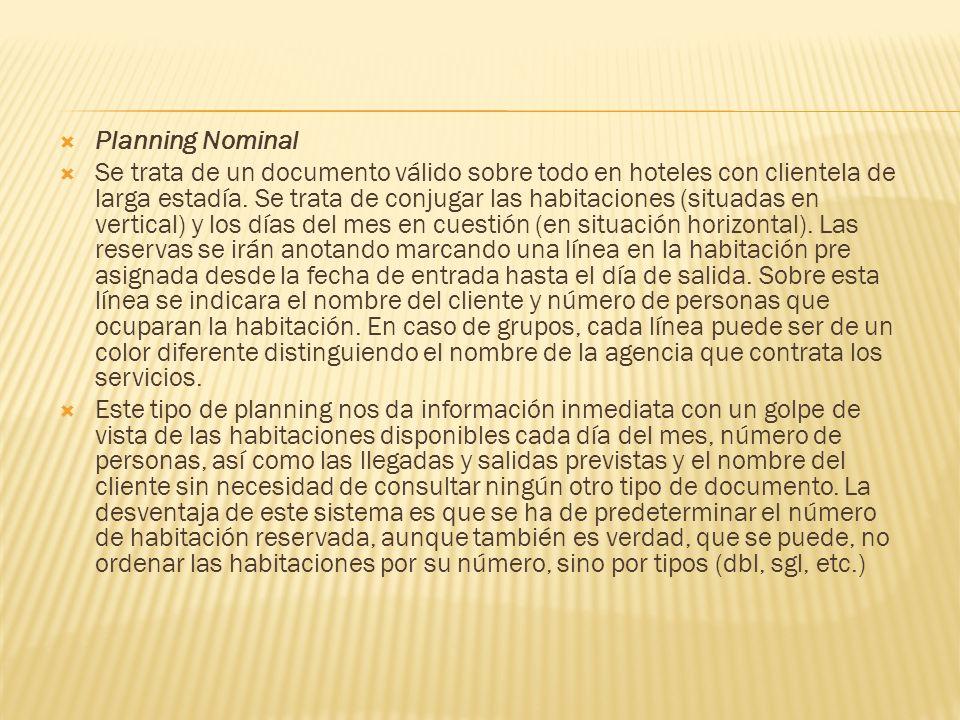 Planning Nominal Se trata de un documento válido sobre todo en hoteles con clientela de larga estadía. Se trata de conjugar las habitaciones (situadas