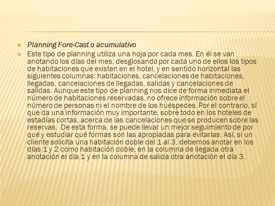 Planning Fore-Cast o acumulativo Este tipo de planning utiliza una hoja por cada mes.