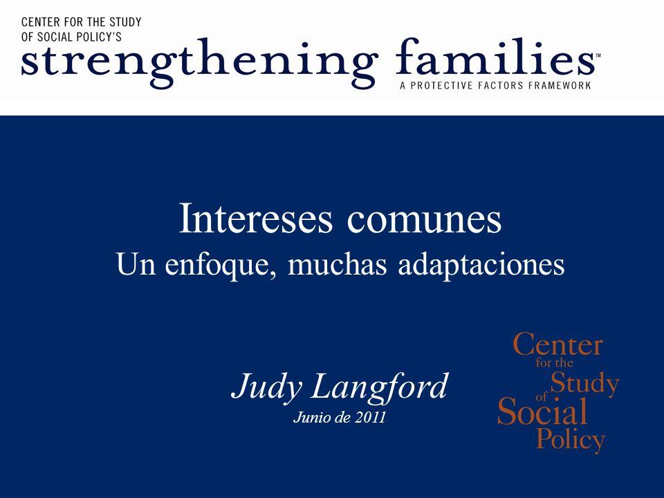 Intereses comunes Un enfoque, muchas adaptaciones Judy Langford Junio de 2011