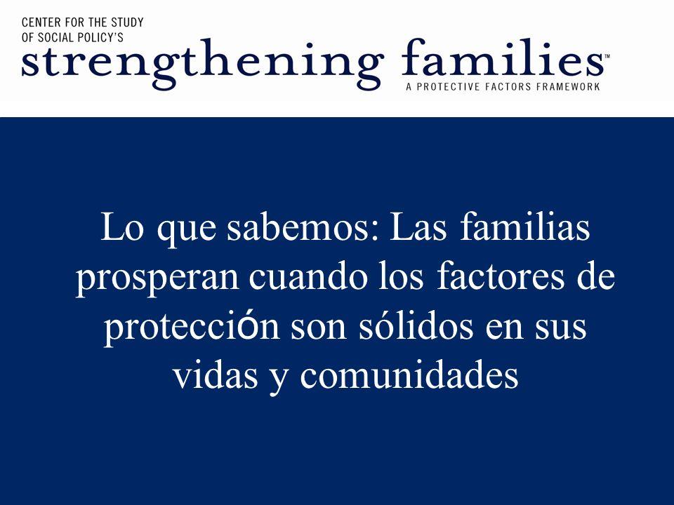 Lo que sabemos: Las familias prosperan cuando los factores de protecci ó n son sólidos en sus vidas y comunidades