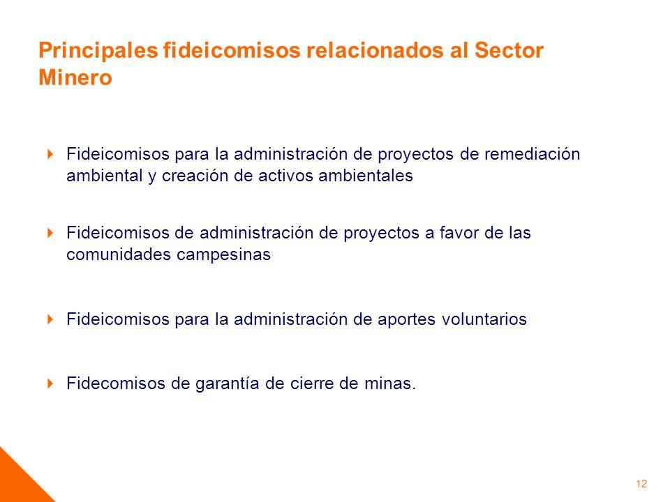 Principales fideicomisos relacionados al Sector Minero Fideicomisos para la administración de proyectos de remediación ambiental y creación de activos