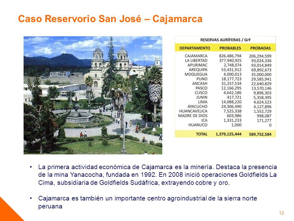 13 La primera actividad económica de Cajamarca es la minería. Destaca la presencia de la mina Yanacocha, fundada en 1992. En 2008 inició operaciones G