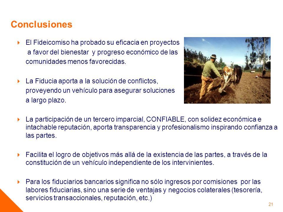 21 Conclusiones El Fideicomiso ha probado su eficacia en proyectos a favor del bienestar y progreso económico de las comunidades menos favorecidas. La