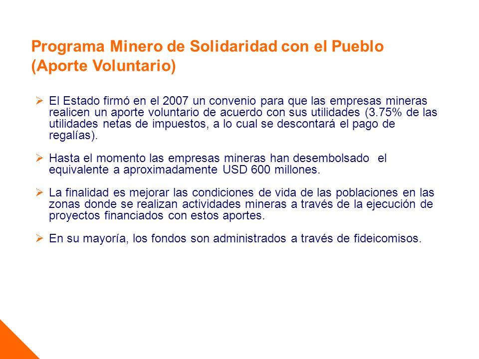 Programa Minero de Solidaridad con el Pueblo (Aporte Voluntario) El Estado firmó en el 2007 un convenio para que las empresas mineras realicen un apor