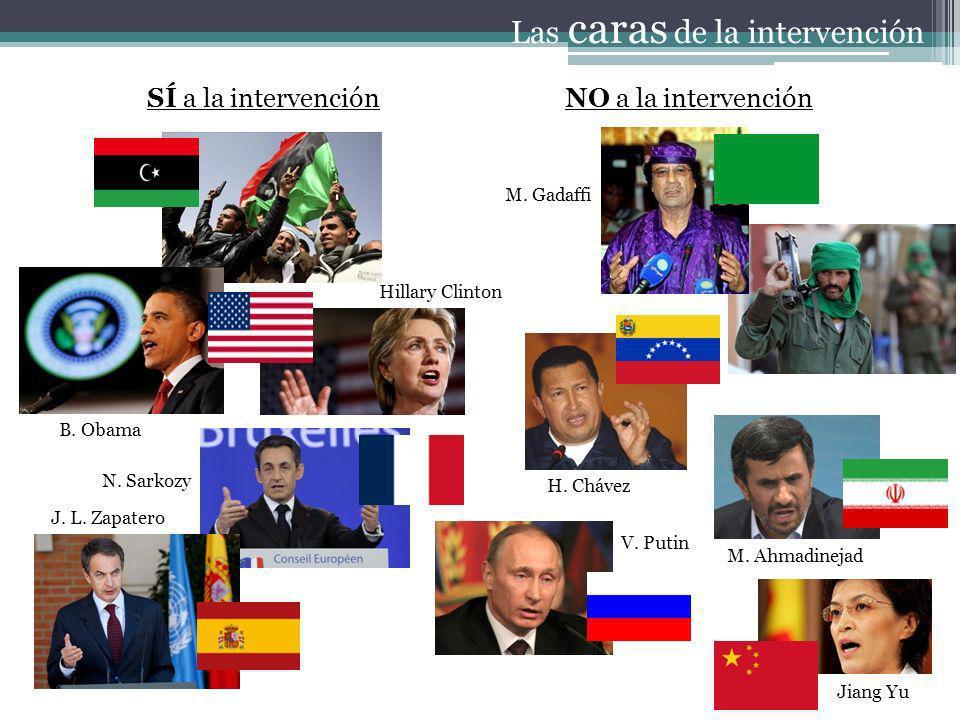 SÍ a la intervenciónNO a la intervención Las caras de la intervención B. Obama Hillary Clinton N. Sarkozy J. L. Zapatero H. Chávez V. Putin M. Gadaffi