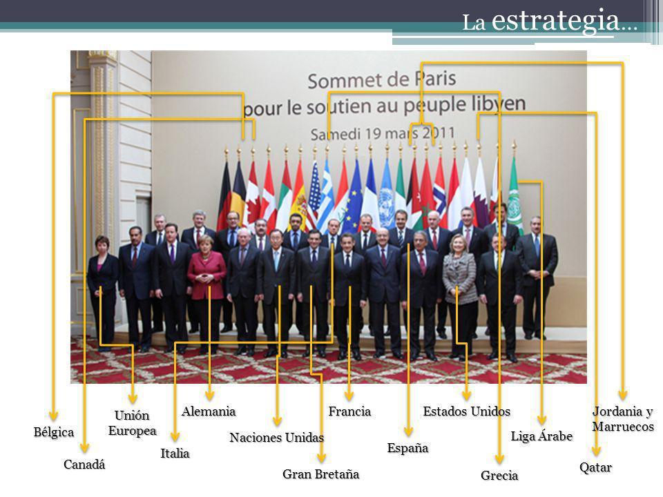 La estrategia … Estados Unidos Italia Qatar España Francia Liga Árabe Naciones Unidas Grecia Alemania Gran Bretaña Unión Europea Canadá Jordania y Mar