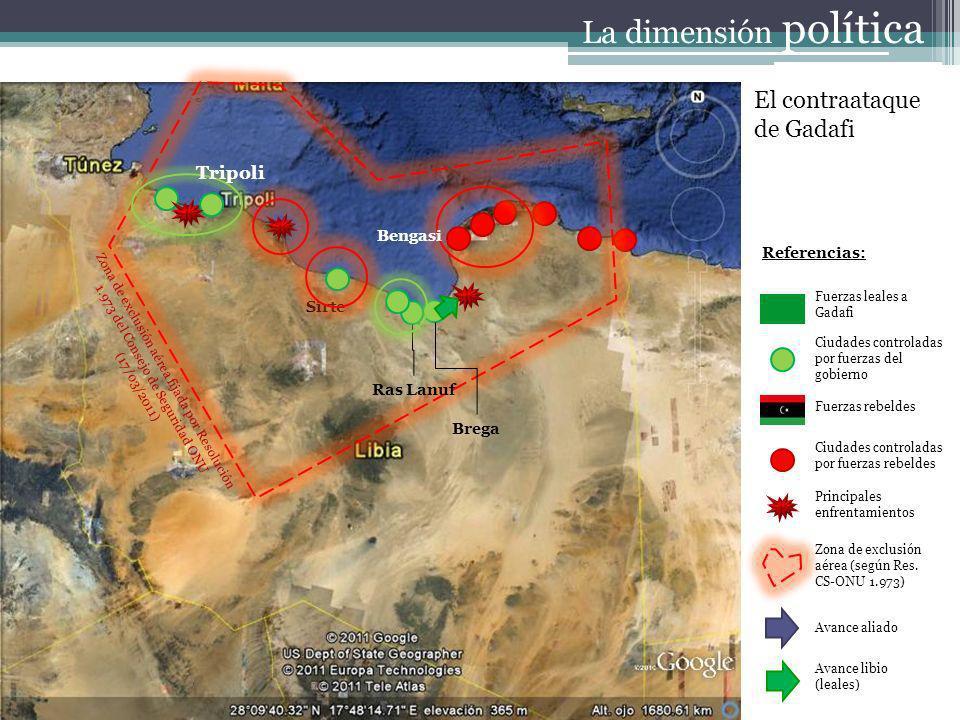 Referencias: Fuerzas leales a Gadafi Ciudades controladas por fuerzas del gobierno Fuerzas rebeldes Ciudades controladas por fuerzas rebeldes Principa