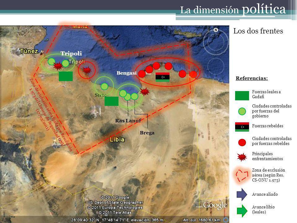 Referencias: Fuerzas leales a Gadafi Ciudades controladas por fuerzas del gobierno Fuerzas rebeldes Ciudades controladas por fuerzas rebeldes Principales enfrentamientos Zona de exclusión aérea (según Res.