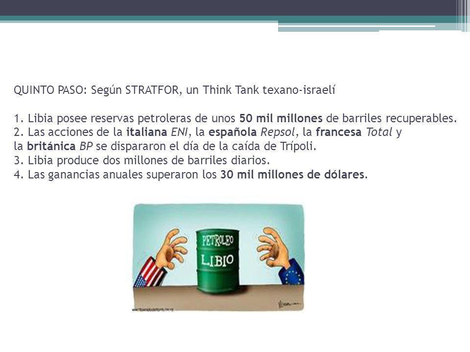 QUINTO PASO: Según STRATFOR, un Think Tank texano-israelí 1. Libia posee reservas petroleras de unos 50 mil millones de barriles recuperables. 2. Las