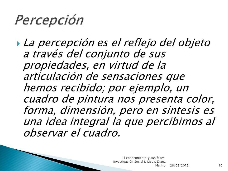 La percepción es el reflejo del objeto a través del conjunto de sus propiedades, en virtud de la articulación de sensaciones que hemos recibido; por e