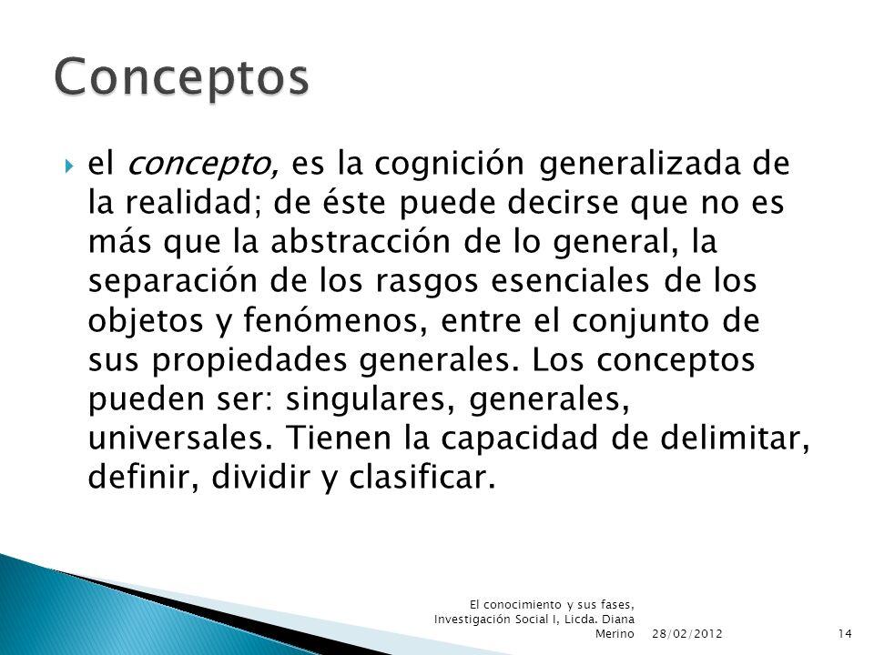 el concepto, es la cognición generalizada de la realidad; de éste puede decirse que no es más que la abstracción de lo general, la separación de los r