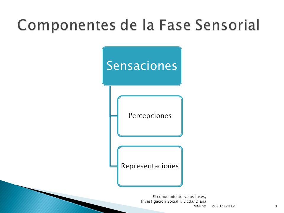 Sensaciones PercepcionesRepresentaciones 28/02/2012 8 El conocimiento y sus fases, Investigación Social I, Licda. Diana Merino