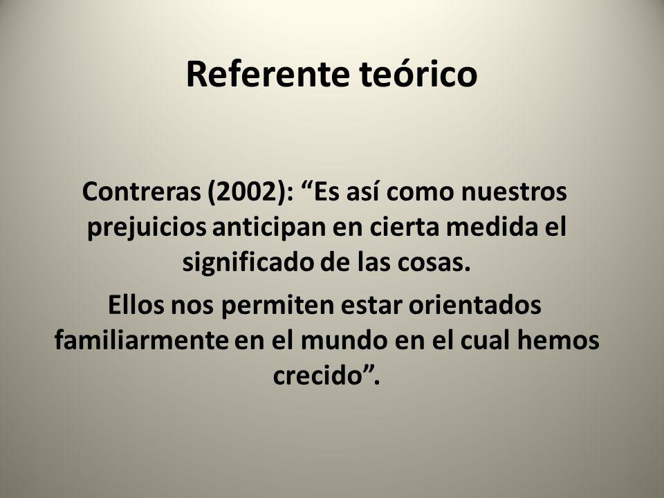 Referente teórico Contreras (2002): Es así como nuestros prejuicios anticipan en cierta medida el significado de las cosas. Ellos nos permiten estar o
