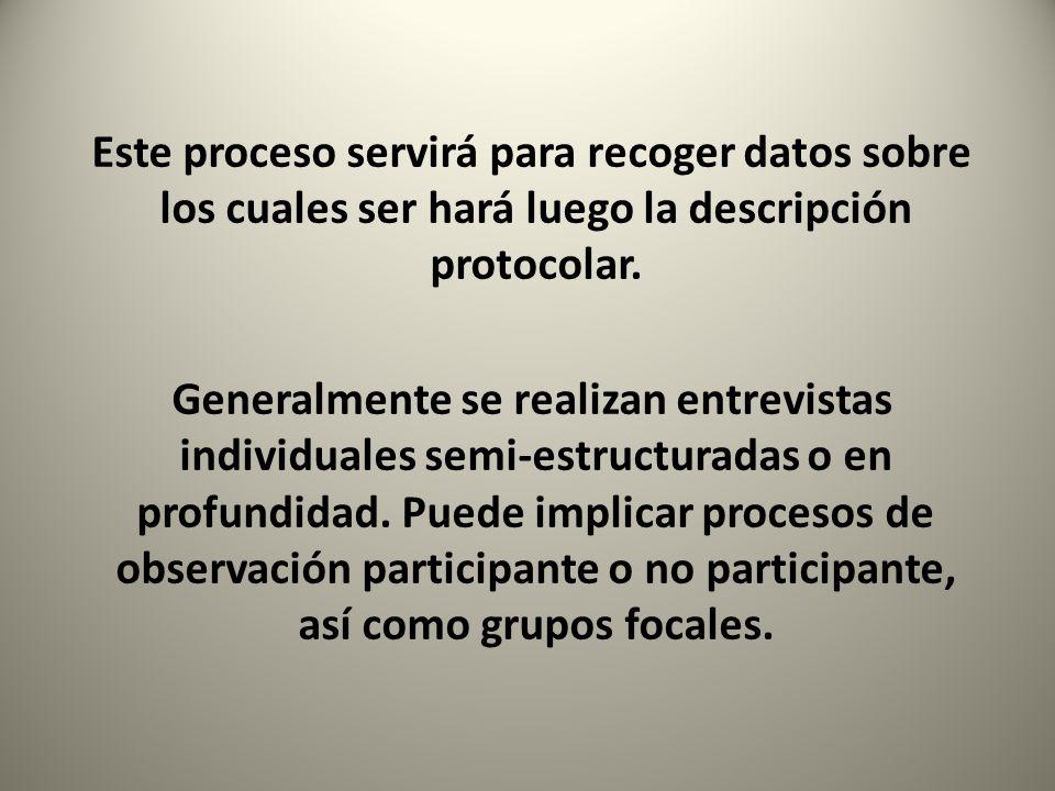 Este proceso servirá para recoger datos sobre los cuales ser hará luego la descripción protocolar. Generalmente se realizan entrevistas individuales s