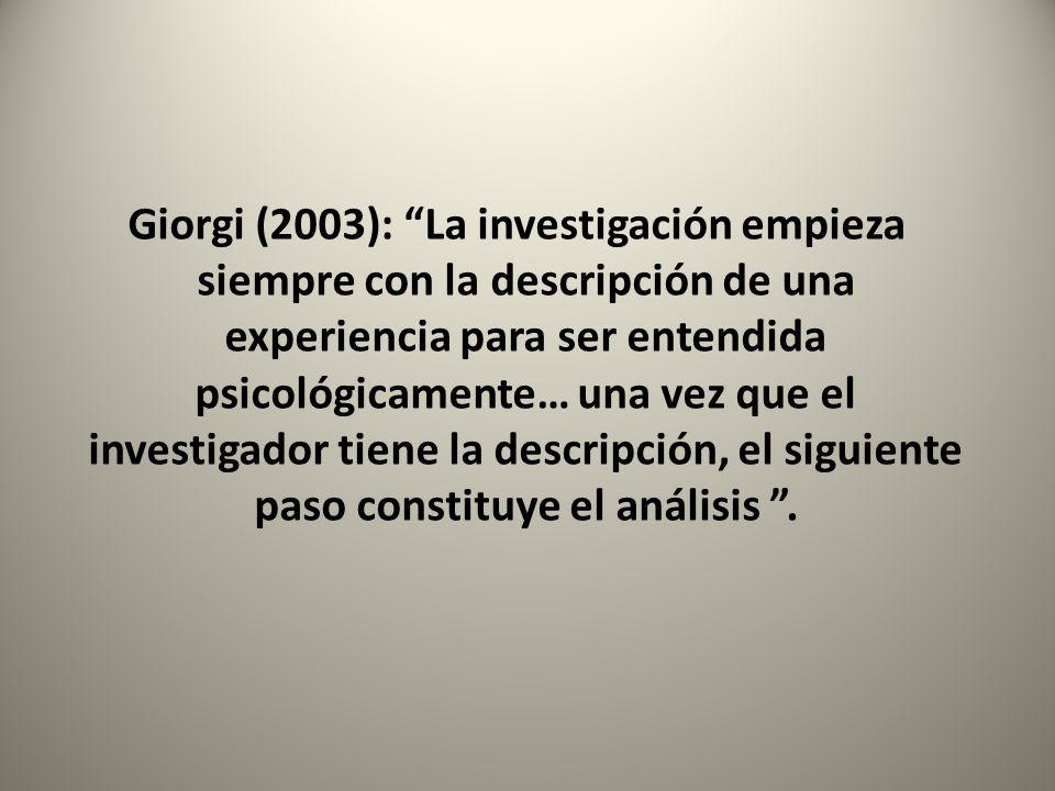 Giorgi (2003): La investigación empieza siempre con la descripción de una experiencia para ser entendida psicológicamente… una vez que el investigador