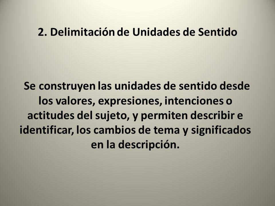 2. Delimitación de Unidades de Sentido Se construyen las unidades de sentido desde los valores, expresiones, intenciones o actitudes del sujeto, y per