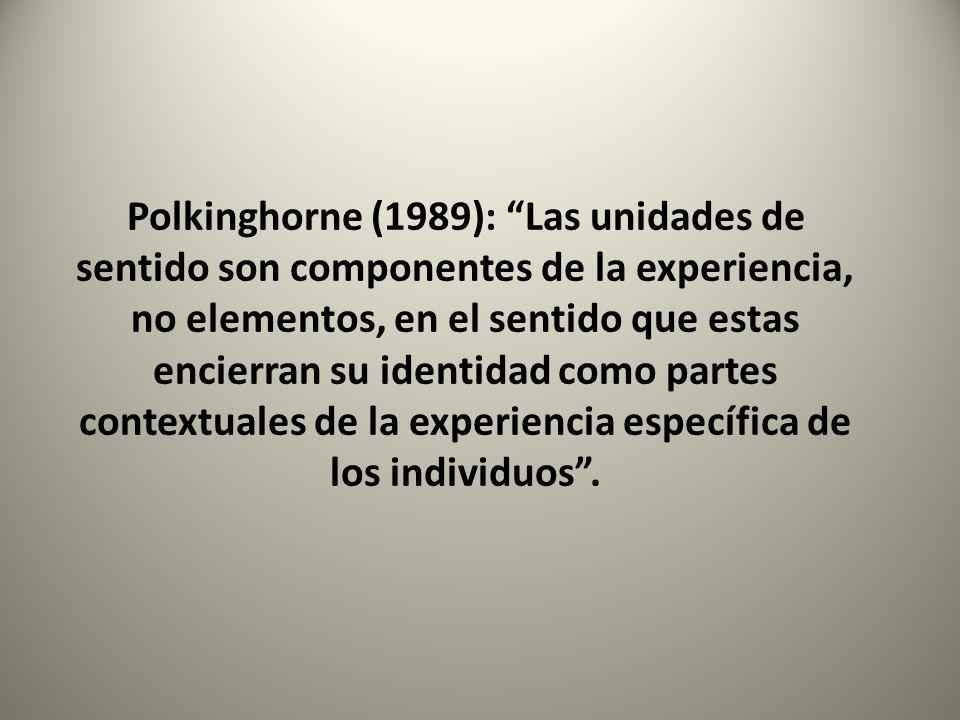 Polkinghorne (1989): Las unidades de sentido son componentes de la experiencia, no elementos, en el sentido que estas encierran su identidad como part