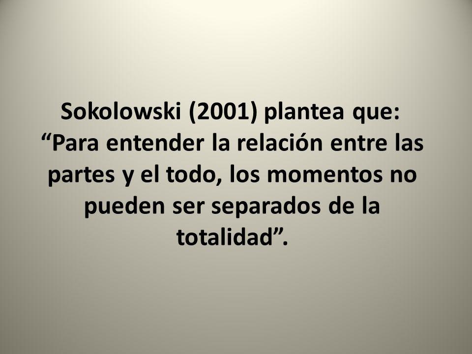 Sokolowski (2001) plantea que: Para entender la relación entre las partes y el todo, los momentos no pueden ser separados de la totalidad.