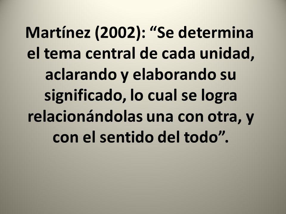 Martínez (2002): Se determina el tema central de cada unidad, aclarando y elaborando su significado, lo cual se logra relacionándolas una con otra, y