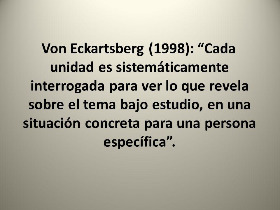 Von Eckartsberg (1998): Cada unidad es sistemáticamente interrogada para ver lo que revela sobre el tema bajo estudio, en una situación concreta para