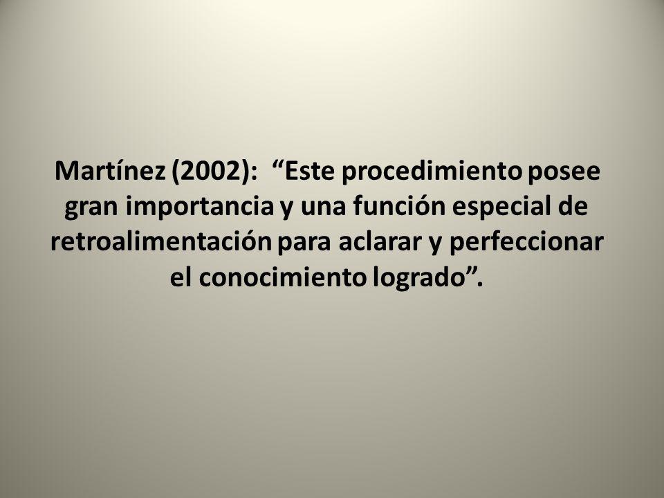 Martínez (2002): Este procedimiento posee gran importancia y una función especial de retroalimentación para aclarar y perfeccionar el conocimiento log
