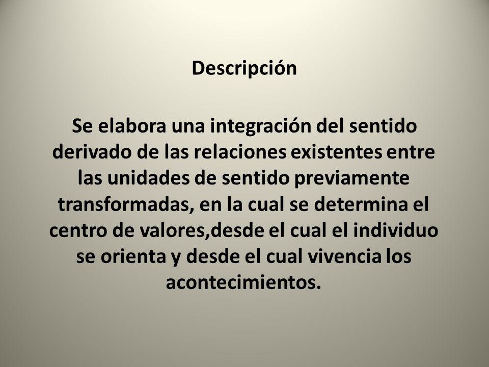 Descripción Se elabora una integración del sentido derivado de las relaciones existentes entre las unidades de sentido previamente transformadas, en l