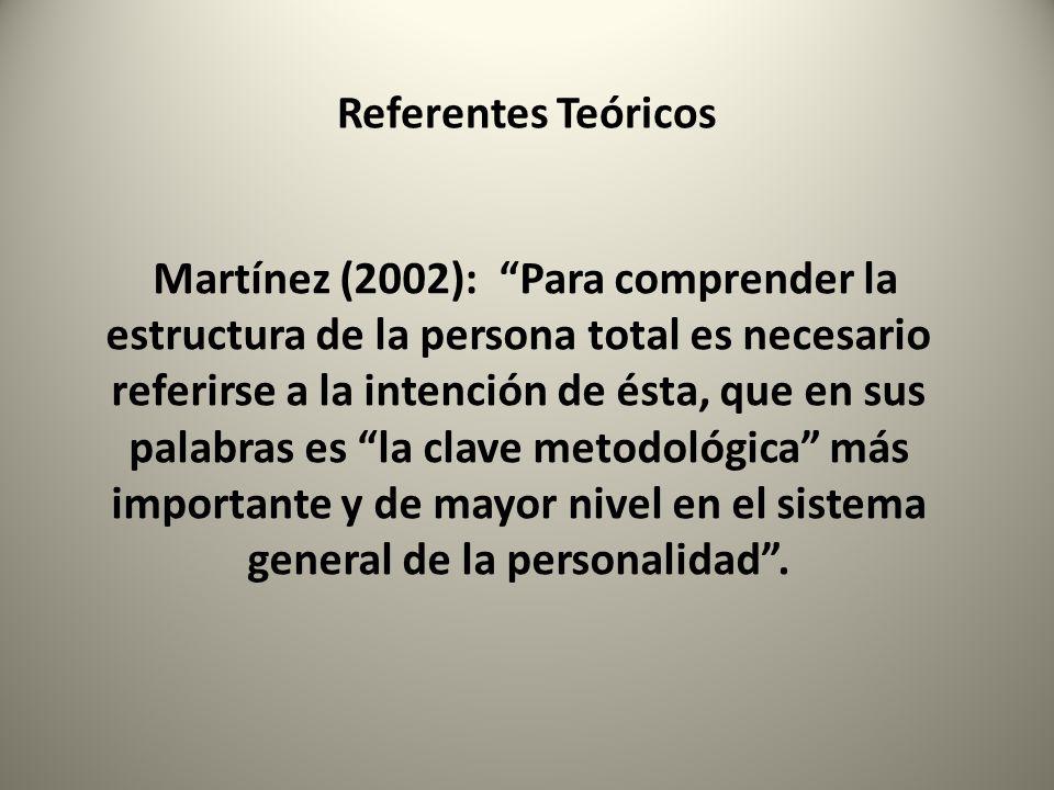 Referentes Teóricos Martínez (2002): Para comprender la estructura de la persona total es necesario referirse a la intención de ésta, que en sus palab