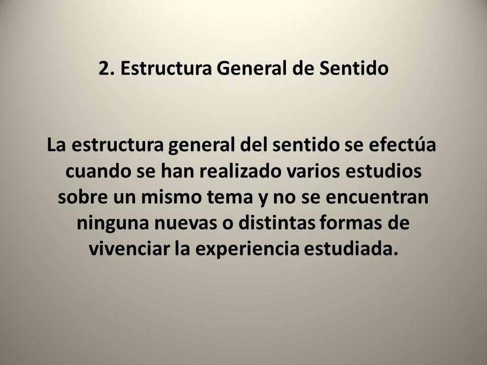 2. Estructura General de Sentido La estructura general del sentido se efectúa cuando se han realizado varios estudios sobre un mismo tema y no se encu