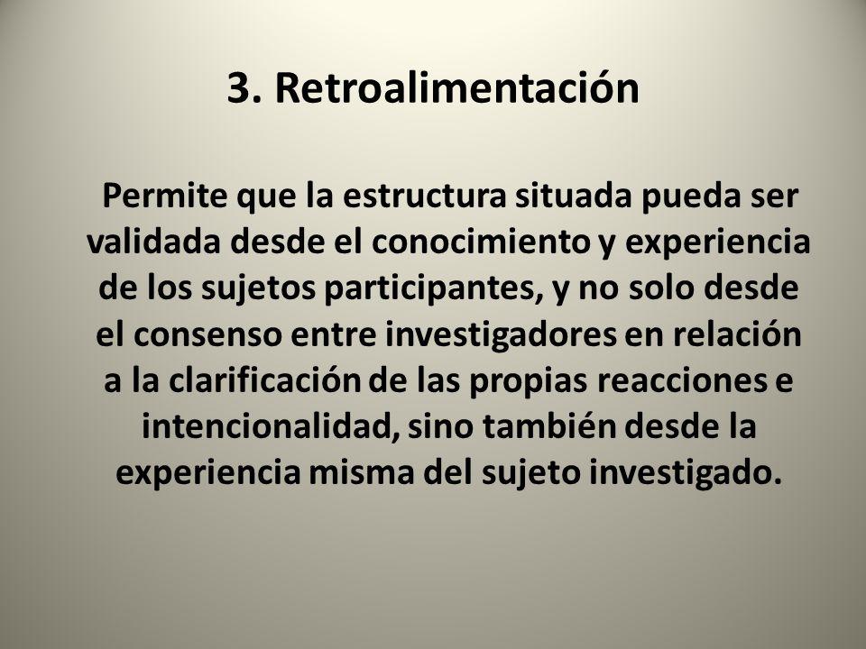 3. Retroalimentación Permite que la estructura situada pueda ser validada desde el conocimiento y experiencia de los sujetos participantes, y no solo