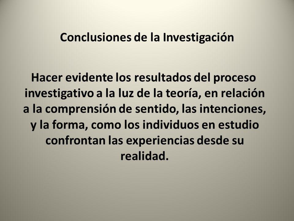 Conclusiones de la Investigación Hacer evidente los resultados del proceso investigativo a la luz de la teoría, en relación a la comprensión de sentid