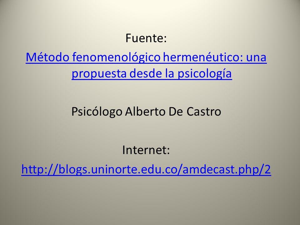 Fuente: Método fenomenológico hermenéutico: una propuesta desde la psicología Psicólogo Alberto De Castro Internet: http://blogs.uninorte.edu.co/amdec