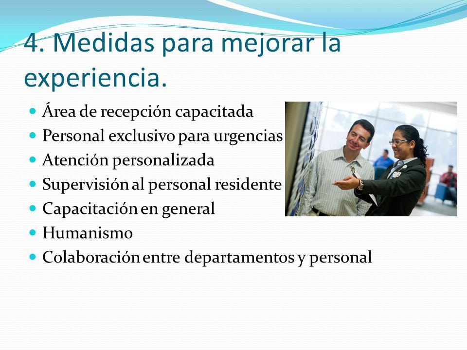 4. Medidas para mejorar la experiencia. Área de recepción capacitada Personal exclusivo para urgencias Atención personalizada Supervisión al personal