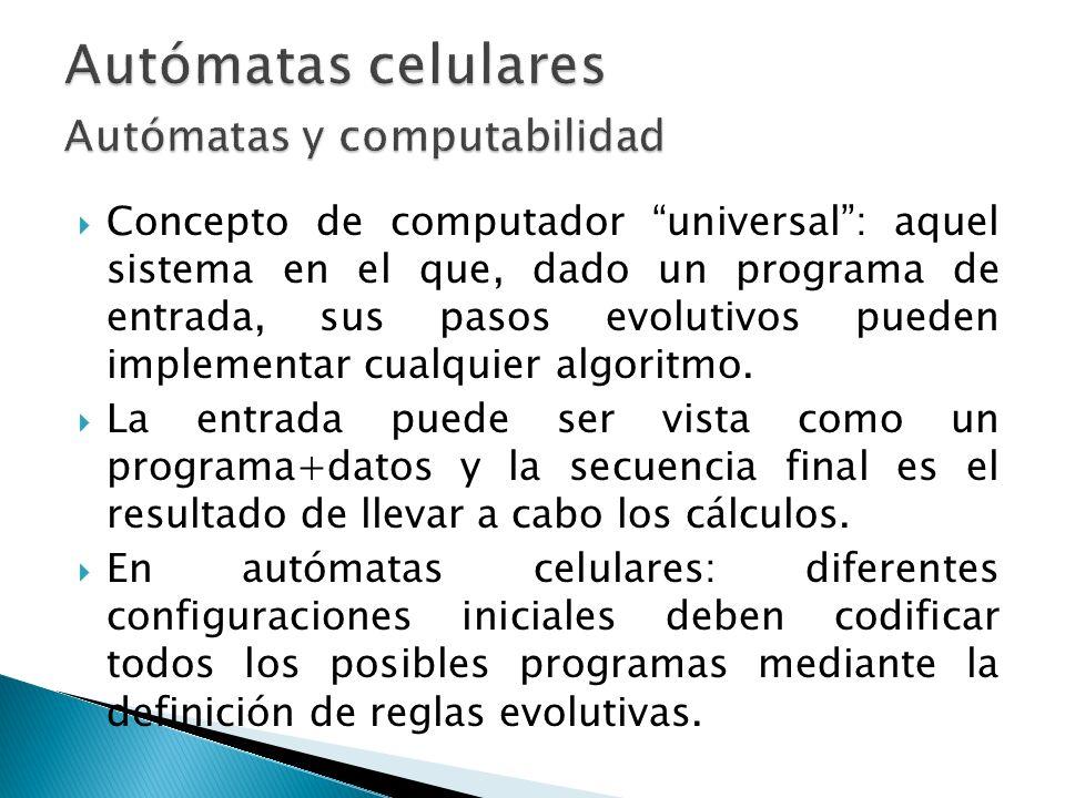 Concepto de computador universal: aquel sistema en el que, dado un programa de entrada, sus pasos evolutivos pueden implementar cualquier algoritmo. L