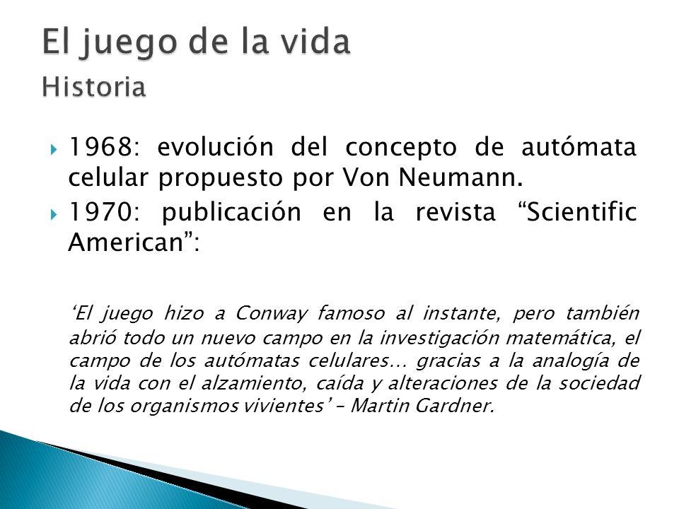 1968: evolución del concepto de autómata celular propuesto por Von Neumann. 1970: publicación en la revista Scientific American: El juego hizo a Conwa