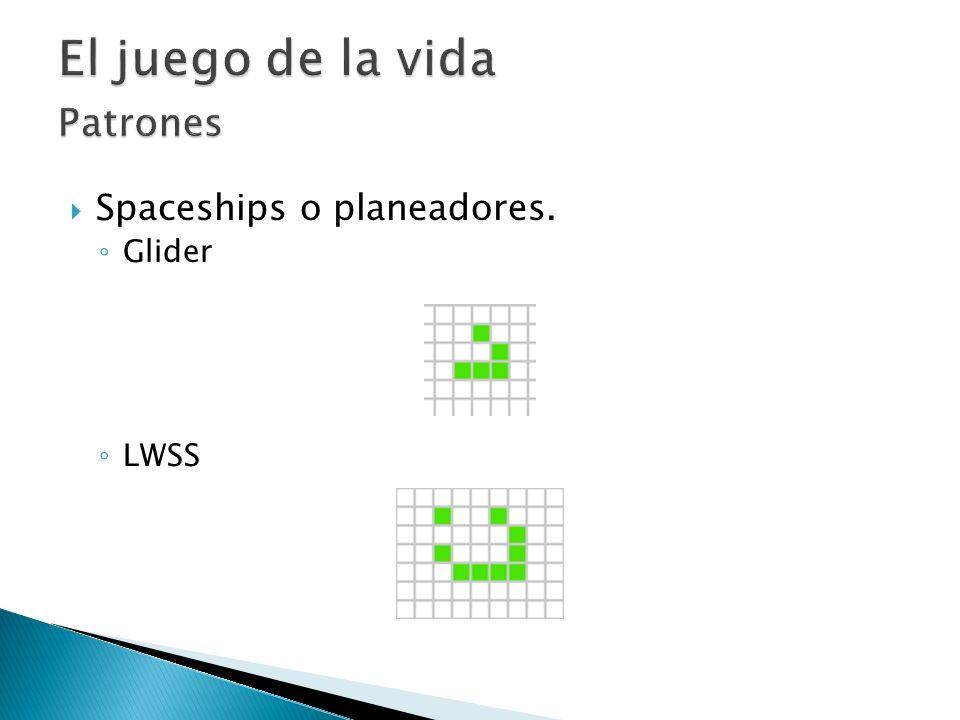 Spaceships o planeadores. Glider LWSS