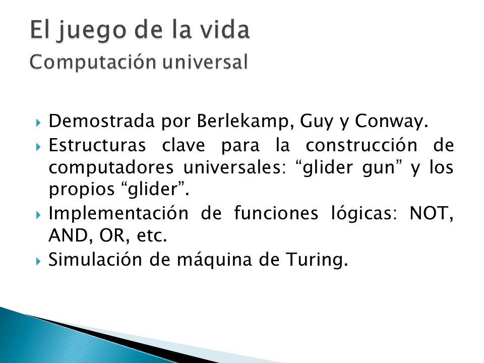Demostrada por Berlekamp, Guy y Conway. Estructuras clave para la construcción de computadores universales: glider gun y los propios glider. Implement