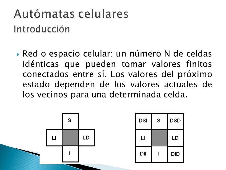 Red o espacio celular: un número N de celdas idénticas que pueden tomar valores finitos conectados entre sí. Los valores del próximo estado dependen d