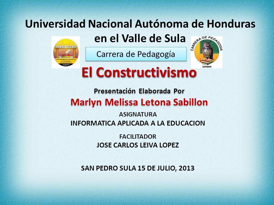 Carrera de Pedagogía Universidad Nacional Autónoma de Honduras en el Valle de Sula El Constructivismo El Constructivismo Presentación Elaborada Por Ma