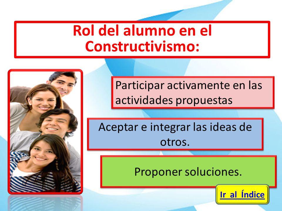 Aceptar e integrar las ideas de otros. Proponer soluciones. Participar activamente en las actividades propuestas Ir al Índice Rol del alumno en el Con