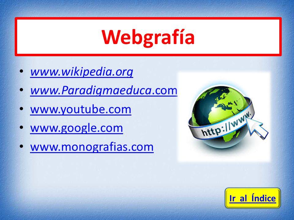 www.wikipedia.org www.Paradigmaeduca.com www.Paradigmaeduca.com www.youtube.com www.google.com www.monografias.com Webgrafía Ir al Índice