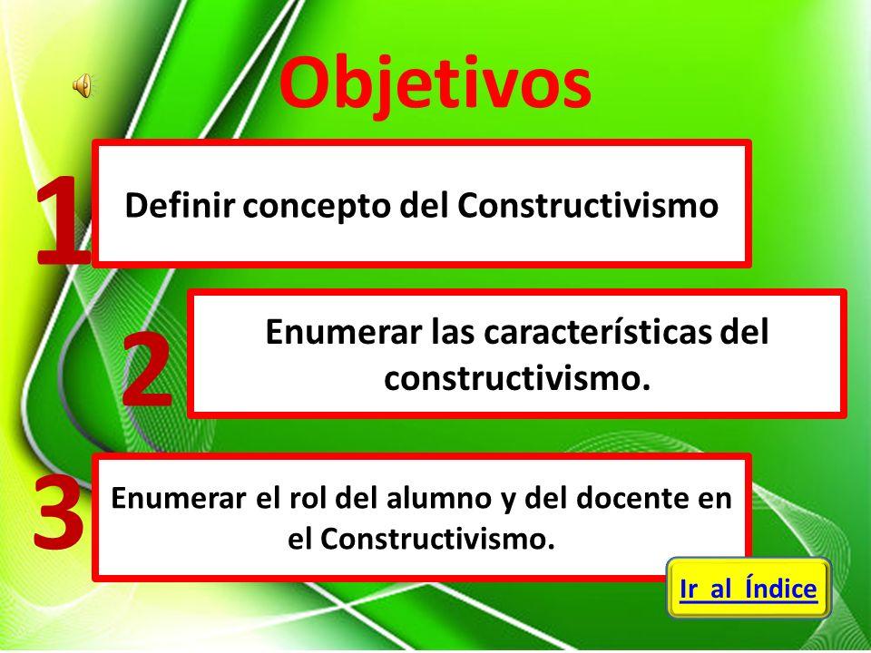 Definir concepto del Constructivismo Enumerar las características del constructivismo. Enumerar el rol del alumno y del docente en el Constructivismo.