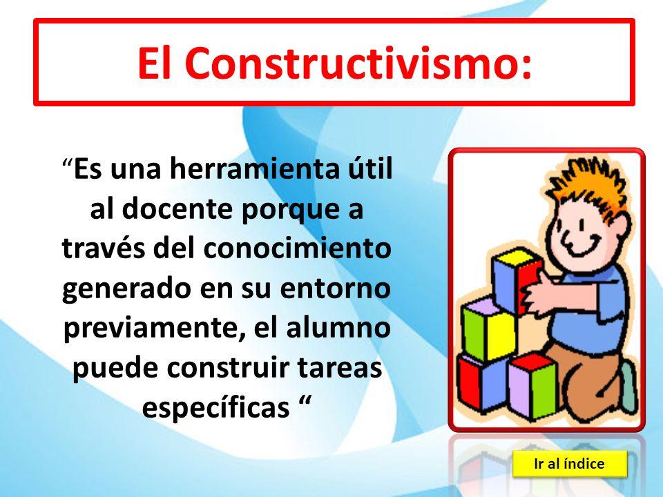 Ir al índice El Constructivismo: Es una herramienta útil al docente porque a través del conocimiento generado en su entorno previamente, el alumno pue