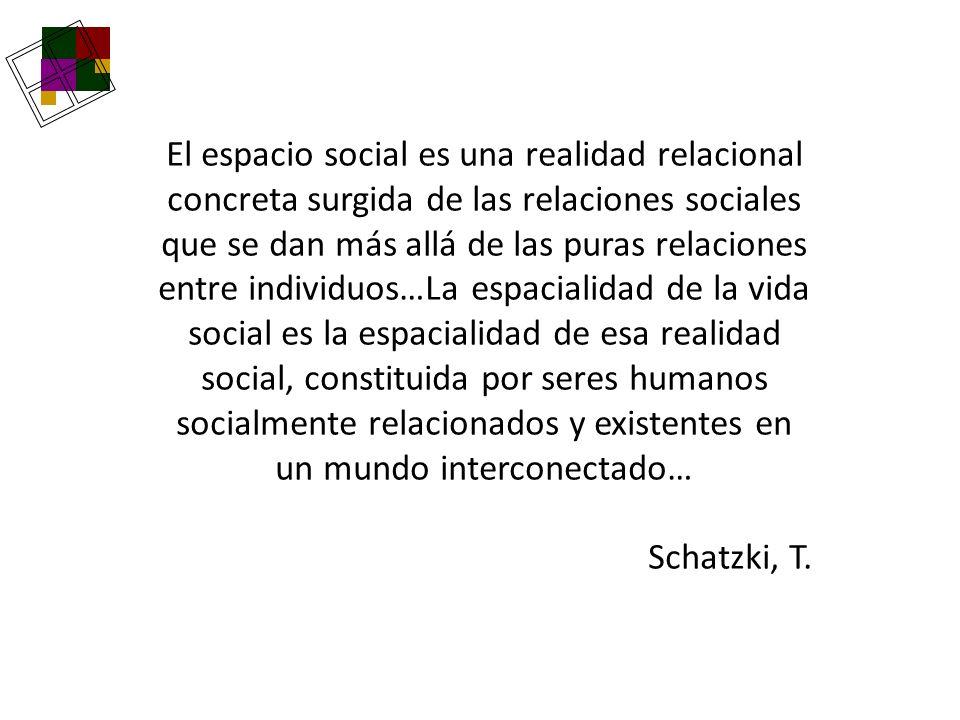 El espacio social es una realidad relacional concreta surgida de las relaciones sociales que se dan más allá de las puras relaciones entre individuos…