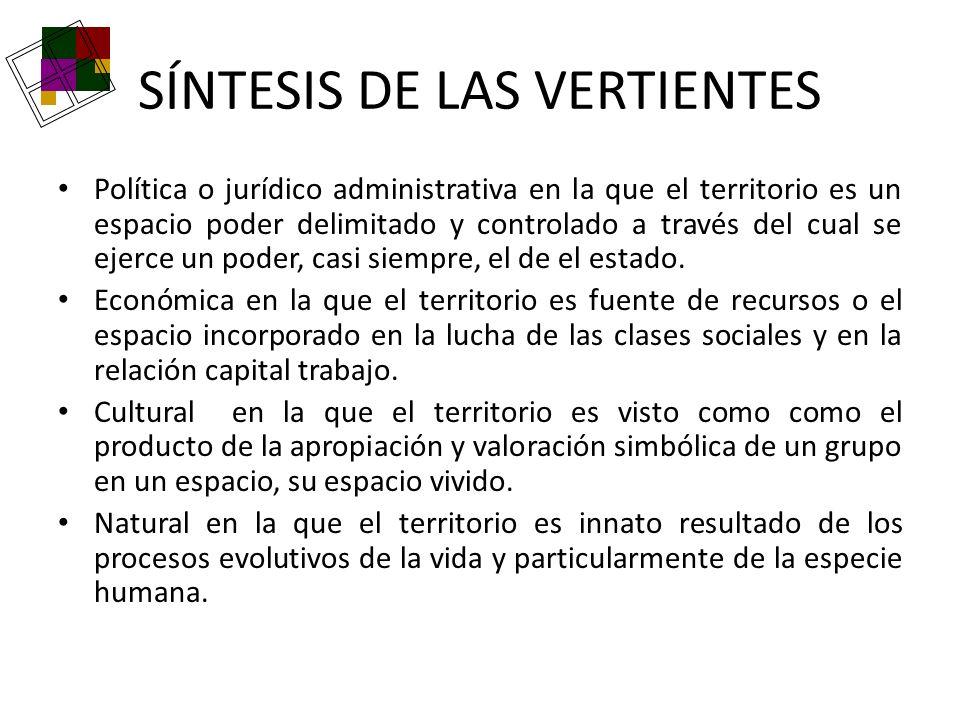 SÍNTESIS DE LAS VERTIENTES Política o jurídico administrativa en la que el territorio es un espacio poder delimitado y controlado a través del cual se