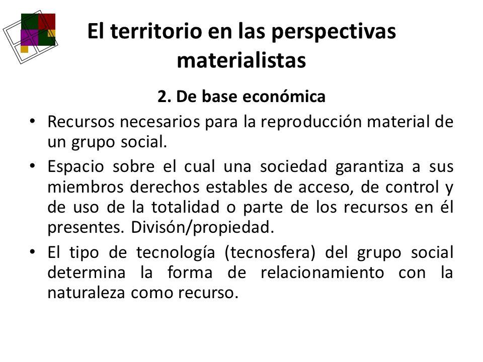 2. De base económica Recursos necesarios para la reproducción material de un grupo social. Espacio sobre el cual una sociedad garantiza a sus miembros
