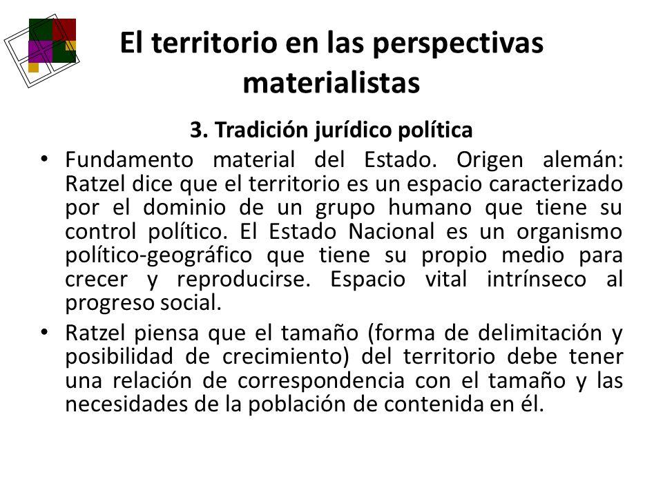 3. Tradición jurídico política Fundamento material del Estado. Origen alemán: Ratzel dice que el territorio es un espacio caracterizado por el dominio