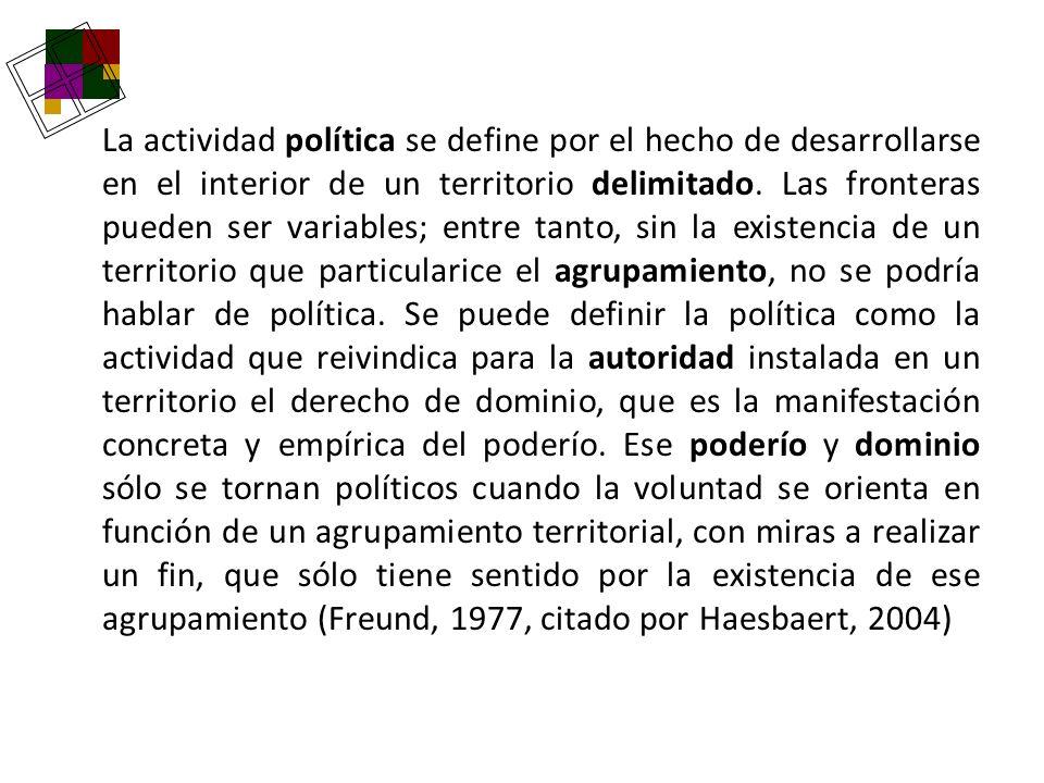 La actividad política se define por el hecho de desarrollarse en el interior de un territorio delimitado. Las fronteras pueden ser variables; entre ta