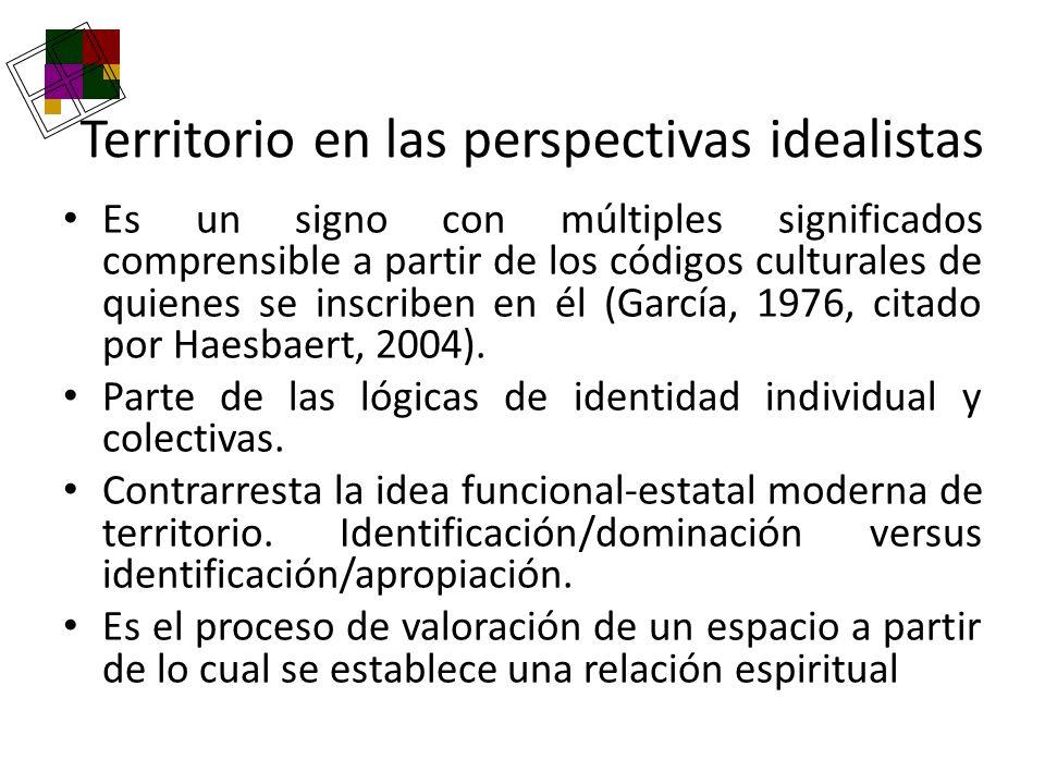 Territorio en las perspectivas idealistas Es un signo con múltiples significados comprensible a partir de los códigos culturales de quienes se inscrib