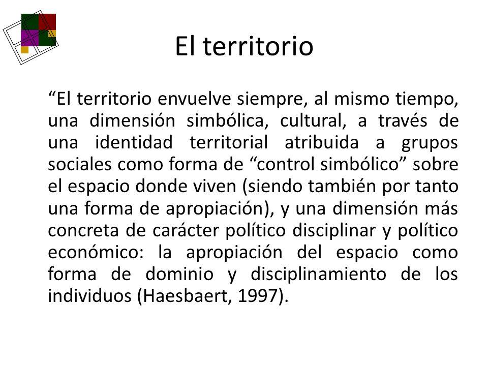 El territorio El territorio envuelve siempre, al mismo tiempo, una dimensión simbólica, cultural, a través de una identidad territorial atribuida a gr