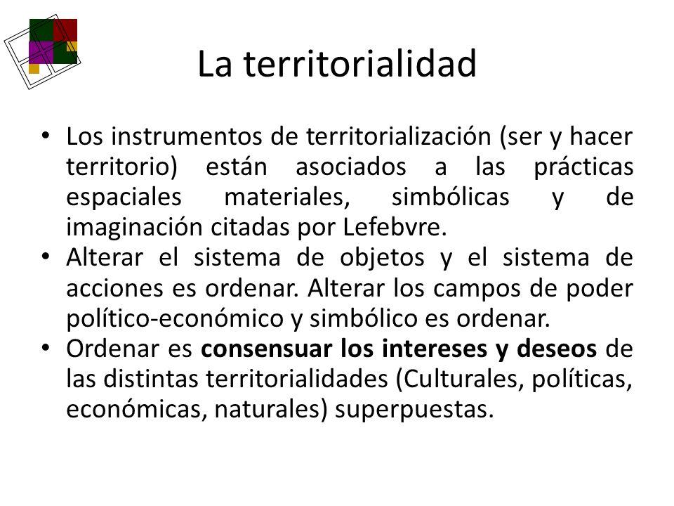 La territorialidad Los instrumentos de territorialización (ser y hacer territorio) están asociados a las prácticas espaciales materiales, simbólicas y